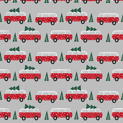 christmas van hippie bus christmas tree tradition holiday fabric red fabric by charlottewinter on Spoonflower - custom fabric