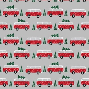 christmas van hippie bus christmas tree tradition holiday fabric red