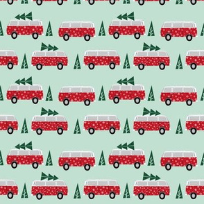 christmas van hippie bus christmas tree tradition holiday fabric mint