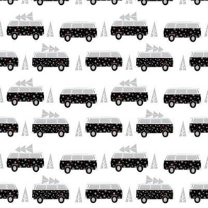 christmas van hippie bus christmas tree tradition holiday fabric white black