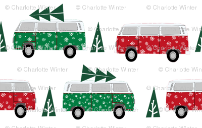 christmas van hippie bus christmas tree tradition holiday fabric white