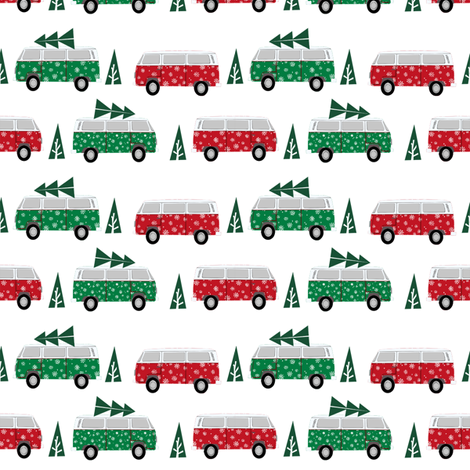 christmas van hippie bus christmas tree tradition holiday fabric white  fabric by charlottewinter on Spoonflower - custom fabric