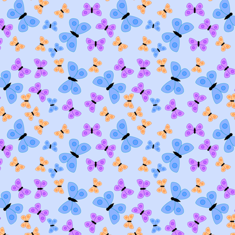 Bold butterflies blue fabric by raccoons_rags on Spoonflower - custom fabric
