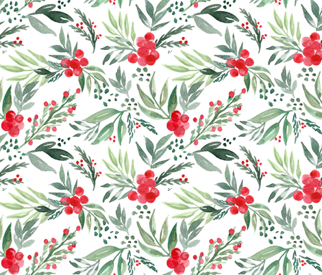 watercolor-holly-berry fabric by maydesigns on Spoonflower - custom fabric