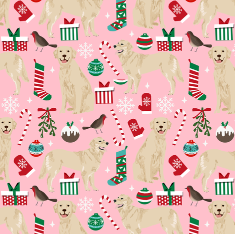 golden retriever dog fabric cute christmas dog design - pink fabric by petfriendly on Spoonflower - custom fabric