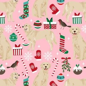 golden retriever dog fabric cute christmas dog design - pink