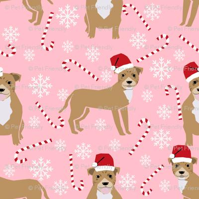 staffy dog fabric staffordshire terrier, dog pitbull christmas fabric - pink