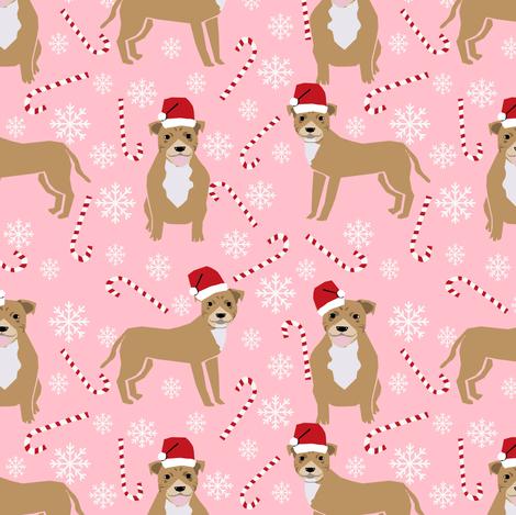 staffy dog fabric staffordshire terrier, dog pitbull christmas fabric - pink fabric by petfriendly on Spoonflower - custom fabric