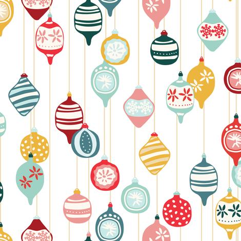 Vintage Christmas in multicolor fabric by lburleighdesigns on Spoonflower - custom fabric