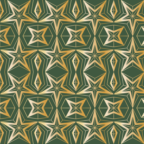 Graphic Stars_Green and gold fabric by align_design on Spoonflower - custom fabric