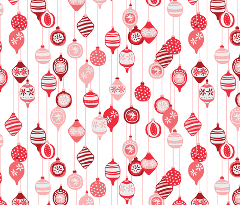 Vintage Christmas ornaments in red fabric by lburleighdesigns on Spoonflower - custom fabric