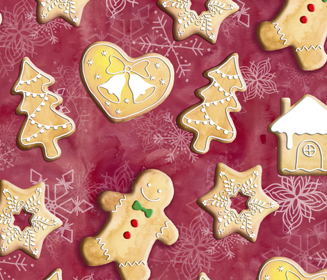 Gingerbread Christmas Cookies fabric by gingerlique on Spoonflower - custom fabric