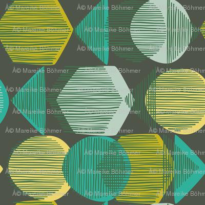 Striped Geometry 1 Dark Green