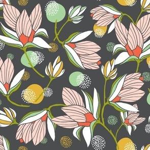 Magnolia Blossom - Floral Charcoal