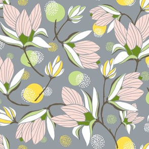 Magnolia Blossom - Floral Grey