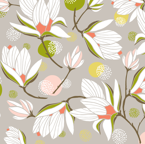 Magnolia Blossom - Floral Stone fabric by heatherdutton on Spoonflower - custom fabric