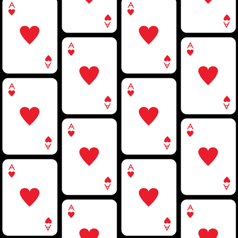 ace-of-hearts-on-black fabric by lilcubby on Spoonflower - custom fabric