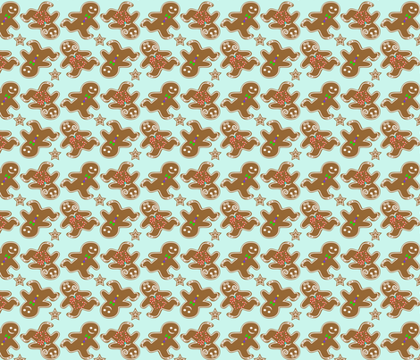 Ditzy Ice Skating Gingerbread cookies  fabric by krystalsavage on Spoonflower - custom fabric