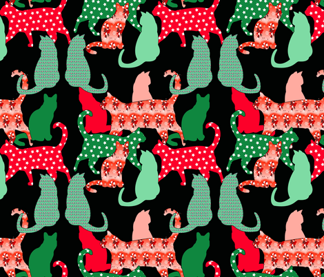 Christmas cats  fabric by dogdaze_ on Spoonflower - custom fabric