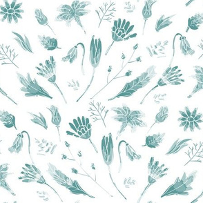 Botanical Block print_teal