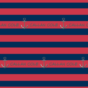 Anchor Stripes 3 - berry navy PERSONALIZED Callan Cole -ed