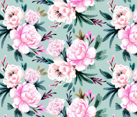lush floral-turq fabric by crystal_walen on Spoonflower - custom fabric