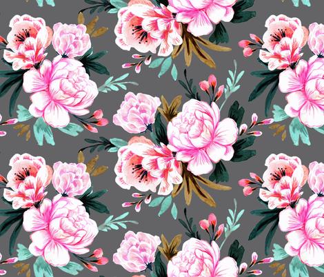 lush floral dark fabric by crystal_walen on Spoonflower - custom fabric