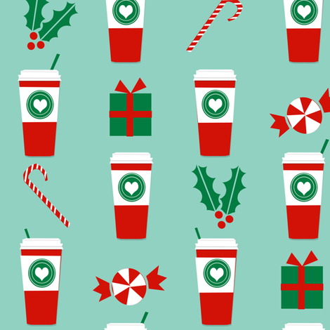 christmas peppermint latte candy cane holly cute coffee latte christmas peppermints fabric by charlottewinter on Spoonflower - custom fabric