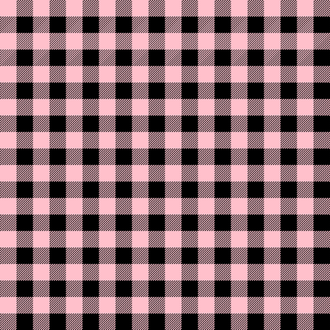 """buffalo plaid - pink and black 3/8""""  fabric by charlottewinter on Spoonflower - custom fabric"""