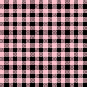 buffalo plaid - pink and black 3/8""