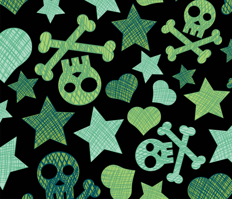 Punk Mint fabric by kittenstitches on Spoonflower - custom fabric