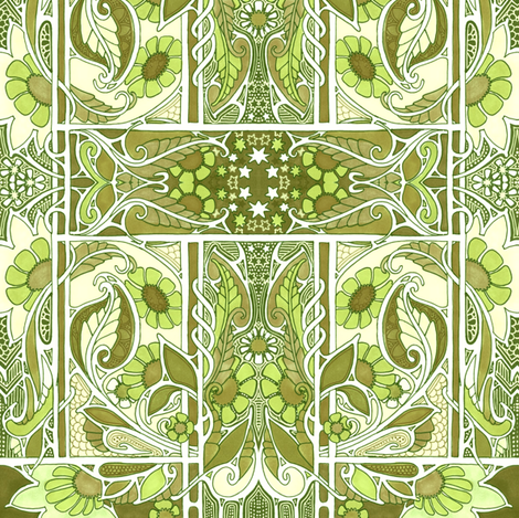 That Seventies Green Returns fabric by edsel2084 on Spoonflower - custom fabric