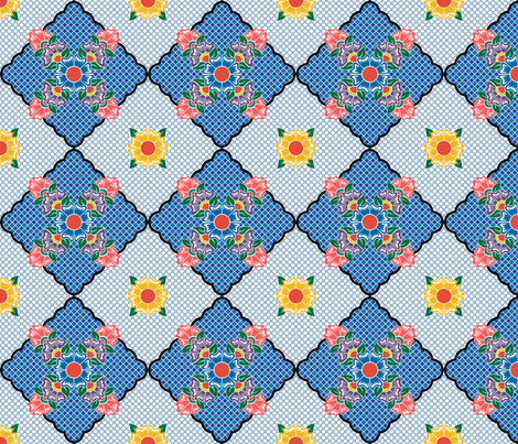 Flower Line Multi Continuous fabric by ameliae on Spoonflower - custom fabric