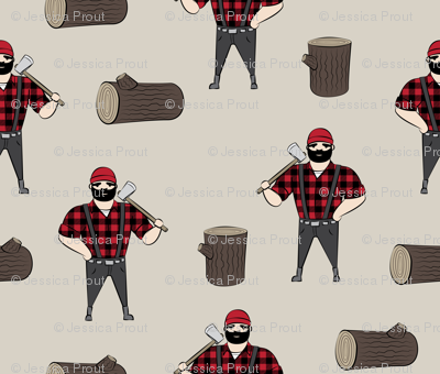 Lumberjacks - buffalo plaid on tan