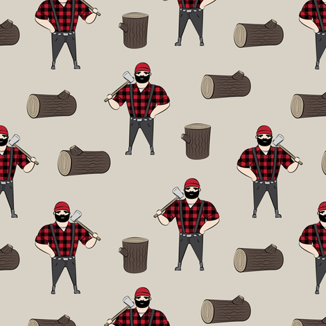 Lumberjacks - buffalo plaid on tan fabric by littlearrowdesign on Spoonflower - custom fabric