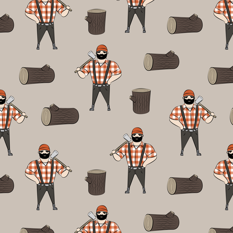 Lumberjacks - burnt orange fabric by littlearrowdesign on Spoonflower - custom fabric