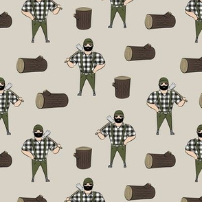 Lumberjacks - olive on tan