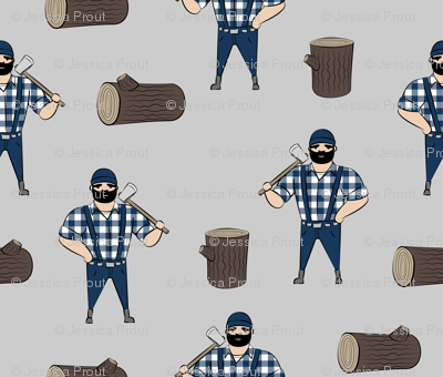 Lumberjacks - blue on grey