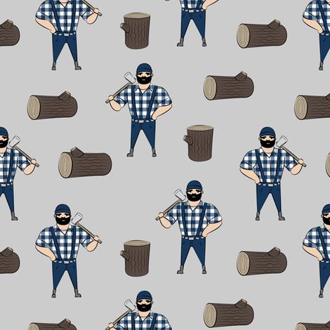 Lumberjacks - blue on grey fabric by littlearrowdesign on Spoonflower - custom fabric