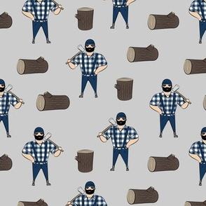 Lumberjacks - blue on grey