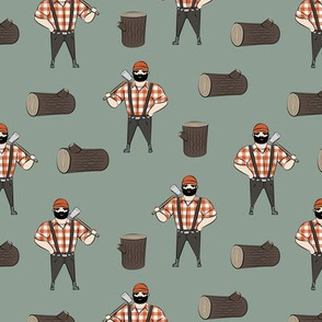 Lumberjacks - burnt orange on green