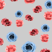 floral pink and blue roses