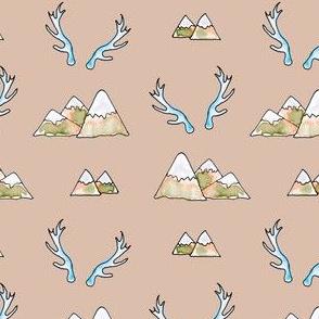 Mountains -n- Antlers in Desert Sand + Sagebrush