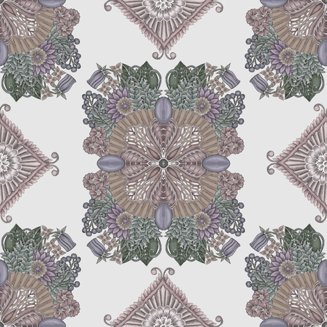 fantasy garden in smokey purple and taupe fabric claldridgeart spoonflower. Black Bedroom Furniture Sets. Home Design Ideas