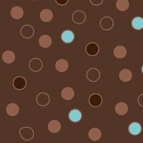 MOD Brown, Blue Polka Dots