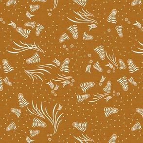 Jungle Flora Feather in Rust Linen