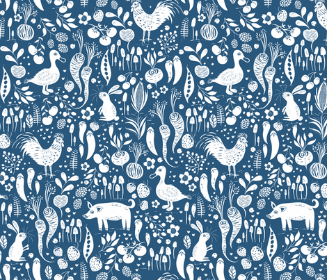 Farm Animals, Fruit and Vegetables Blue and White fabric by jill_o_connor on Spoonflower - custom fabric
