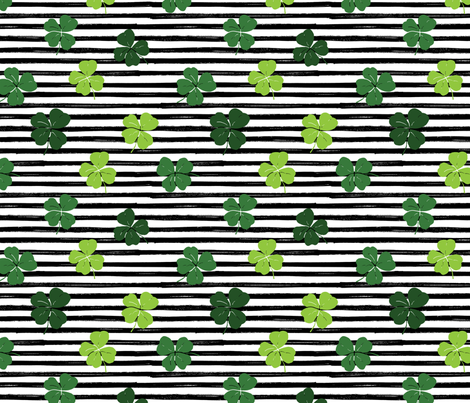 Shamrock Shuffle on Black and White Stripes fabric by hipkiddesigns on Spoonflower - custom fabric
