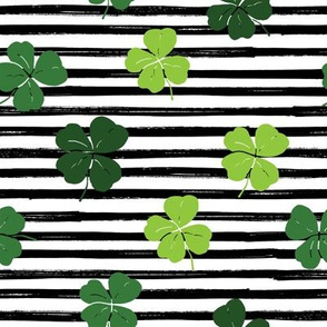 Shamrock Shuffle on Black and White Stripes