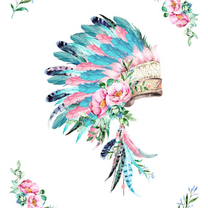 2 to 1 yard MINKY / PINK & AQUA HEADDRESS